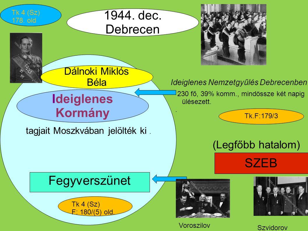 1944. dec. Debrecen Ideiglenes Kormány SZEB Fegyverszünet