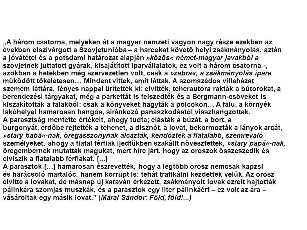 """""""A három csatorna, melyeken át a magyar nemzeti vagyon nagy része ezekben az"""