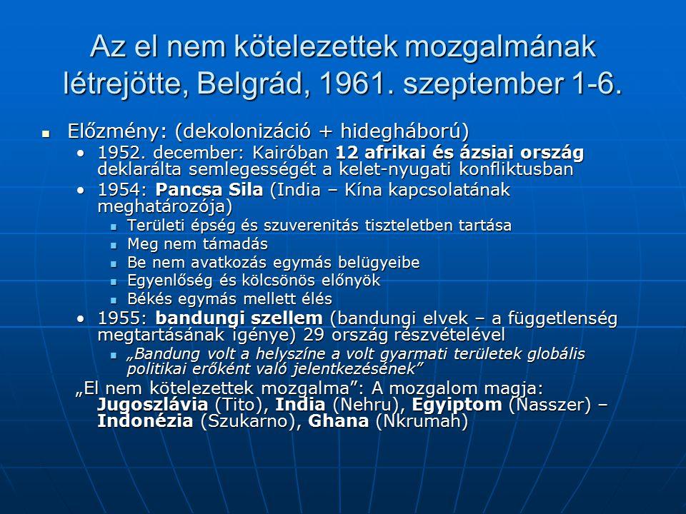 Az el nem kötelezettek mozgalmának létrejötte, Belgrád, 1961