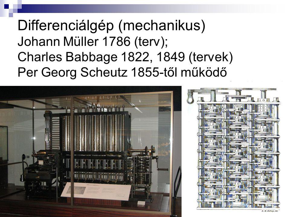 Differenciálgép (mechanikus) Johann Müller 1786 (terv); Charles Babbage 1822, 1849 (tervek) Per Georg Scheutz 1855-től működő