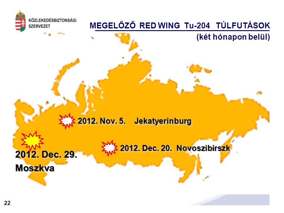 2012. Dec. 29. Moszkva MEGELŐZŐ RED WING Tu-204 TÚLFUTÁSOK