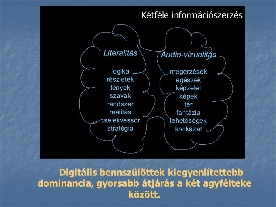 Digitális bennszülöttek kiegyenlítettebb dominancia, gyorsabb átjárás a két agyfélteke között.