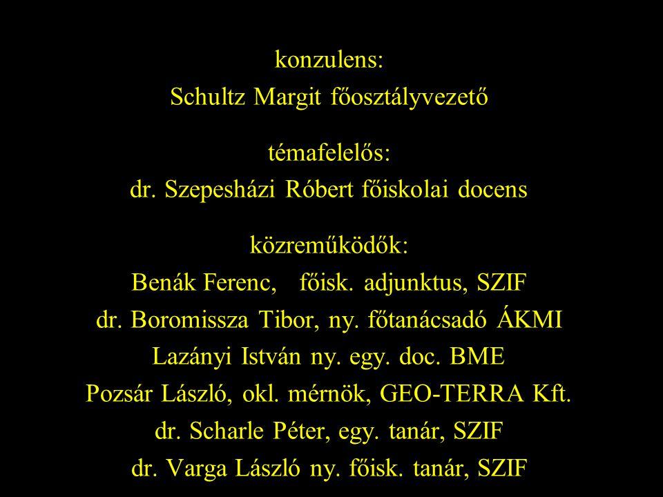 konzulens: Schultz Margit főosztályvezető témafelelős: dr