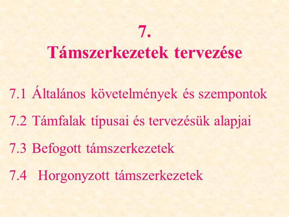 7. Támszerkezetek tervezése
