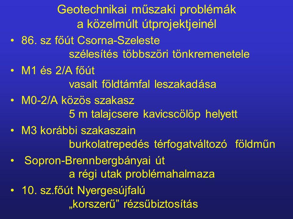 Geotechnikai műszaki problémák a közelmúlt útprojektjeinél