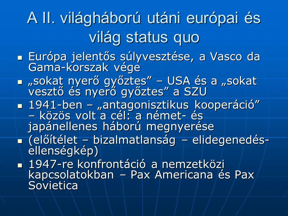 A II. világháború utáni európai és világ status quo
