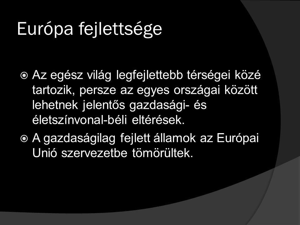 Európa fejlettsége