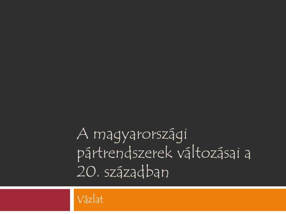 A magyarországi pártrendszerek változásai a 20. században