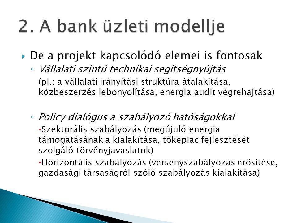 2. A bank üzleti modellje De a projekt kapcsolódó elemei is fontosak