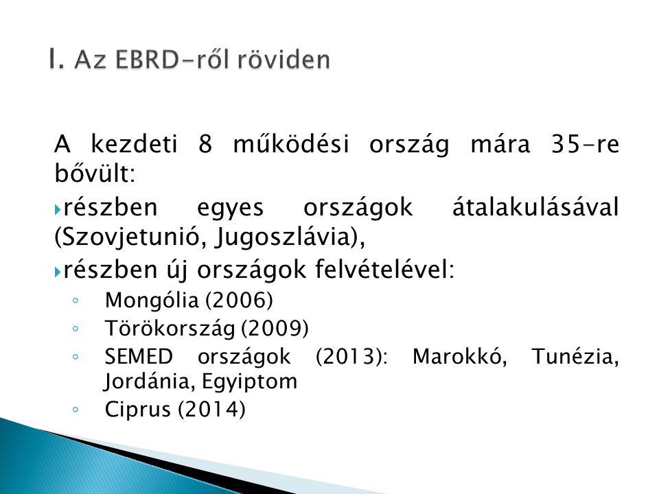 I. Az EBRD-ről röviden A kezdeti 8 működési ország mára 35-re bővült: