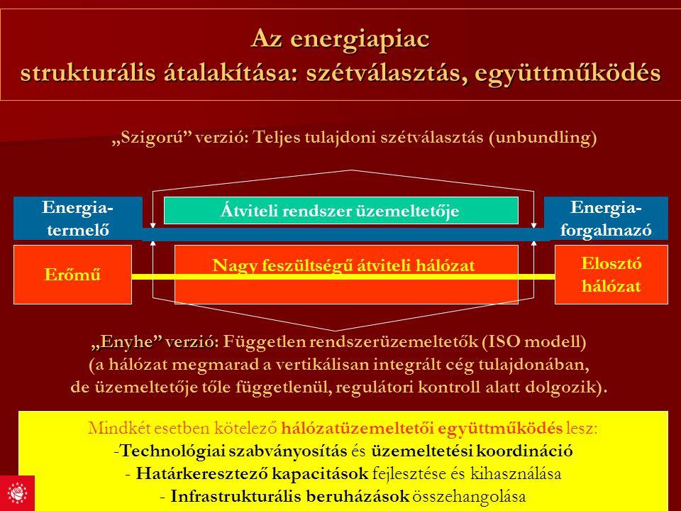 Az energiapiac strukturális átalakítása: szétválasztás, együttműködés