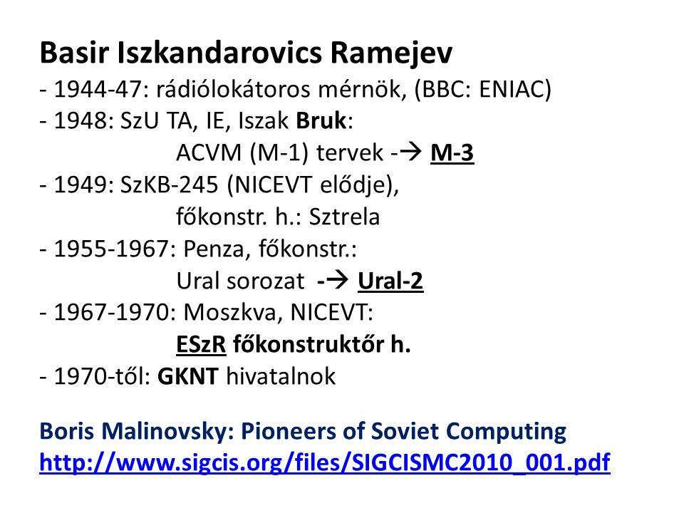 Basir Iszkandarovics Ramejev - 1944-47: rádiólokátoros mérnök, (BBC: ENIAC) - 1948: SzU TA, IE, Iszak Bruk: ACVM (M-1) tervek - M-3 - 1949: SzKB-245 (NICEVT elődje), főkonstr. h.: Sztrela - 1955-1967: Penza, főkonstr.: Ural sorozat - Ural-2 - 1967-1970: Moszkva, NICEVT: ESzR főkonstruktőr h. - 1970-től: GKNT hivatalnok Boris Malinovsky: Pioneers of Soviet Computing http://www.sigcis.org/files/SIGCISMC2010_001.pdf