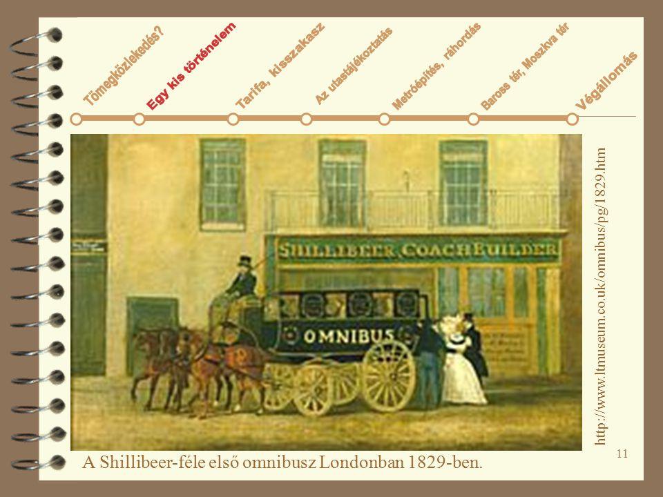 A Shillibeer-féle első omnibusz Londonban 1829-ben.