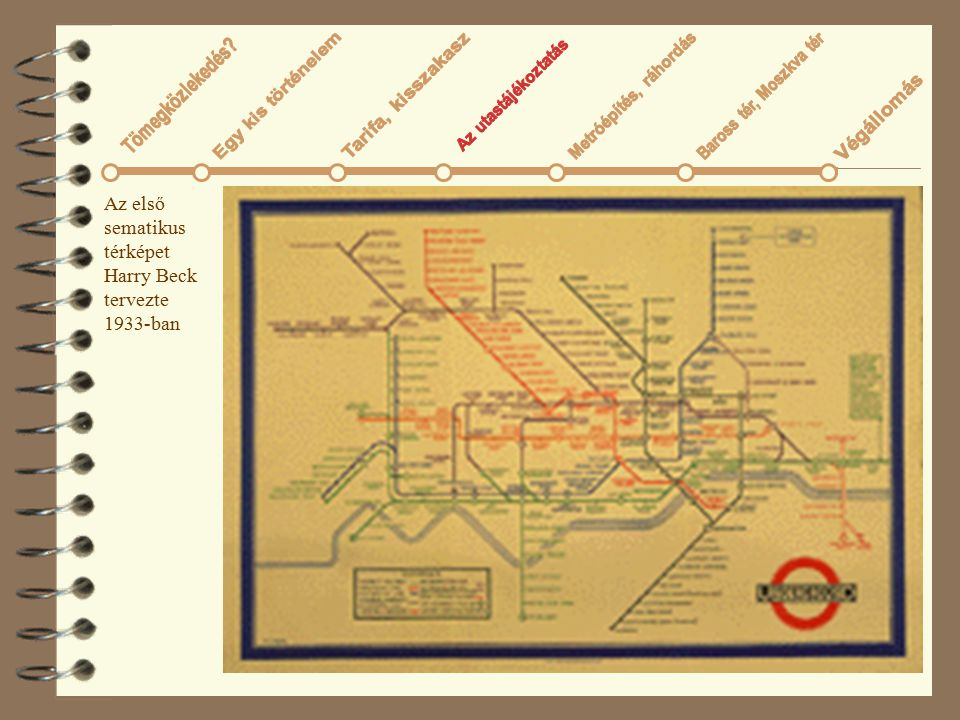 Az első sematikus térképet Harry Beck tervezte 1933-ban