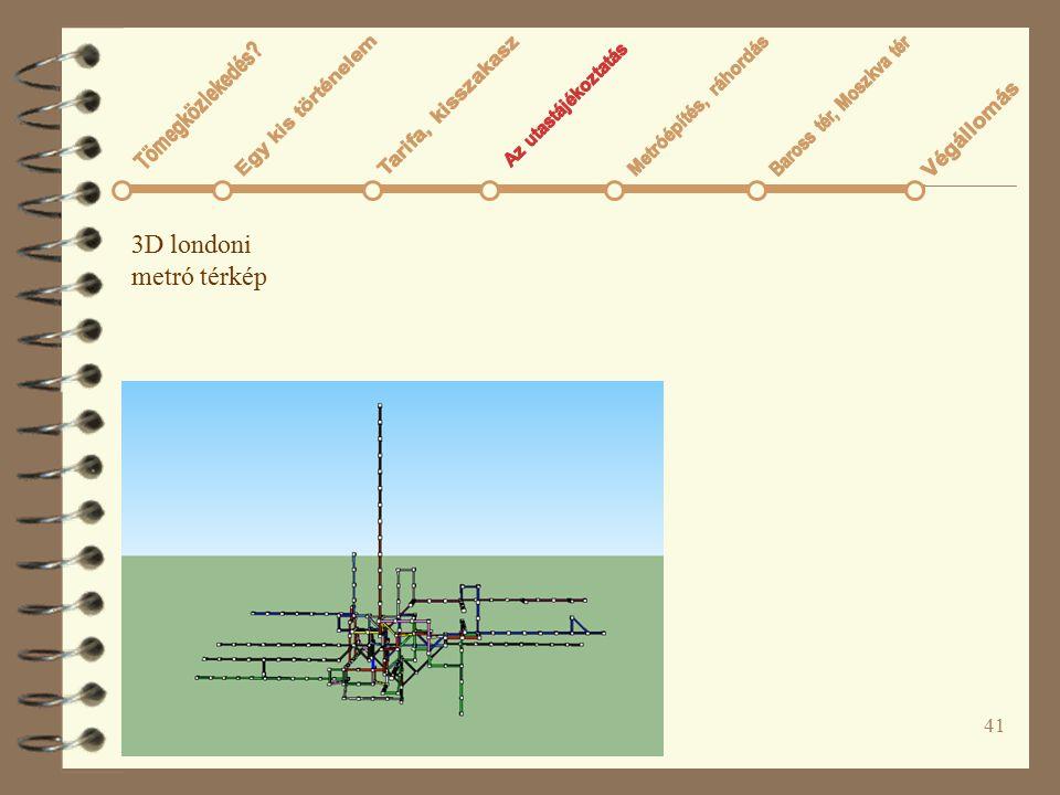3D londoni metró térkép Tömegközlekedés Az utastájékoztatás
