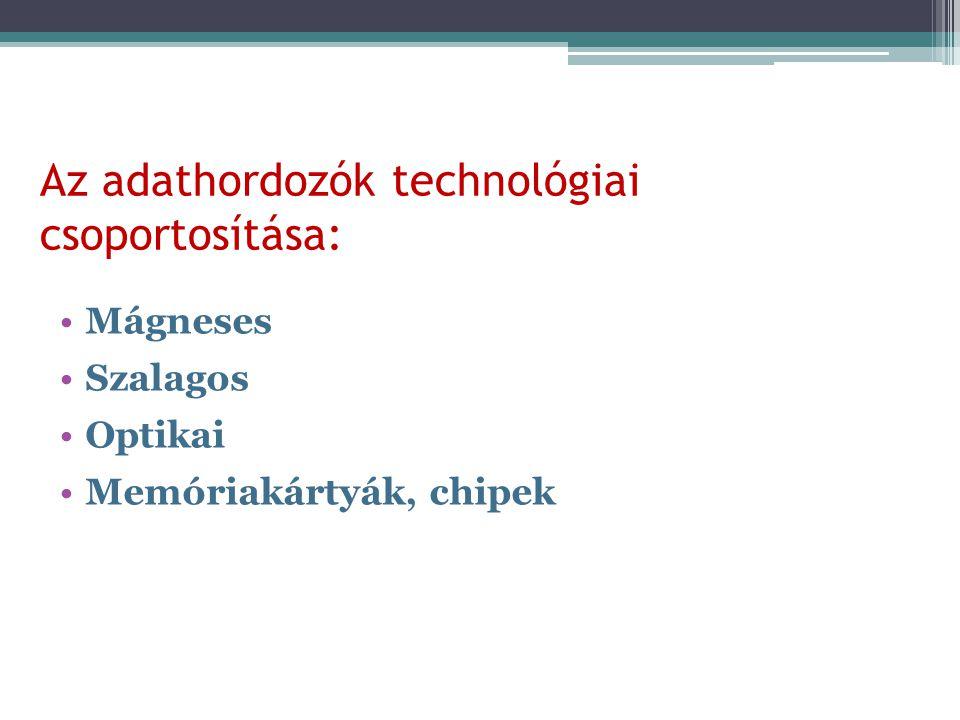 Az adathordozók technológiai csoportosítása:
