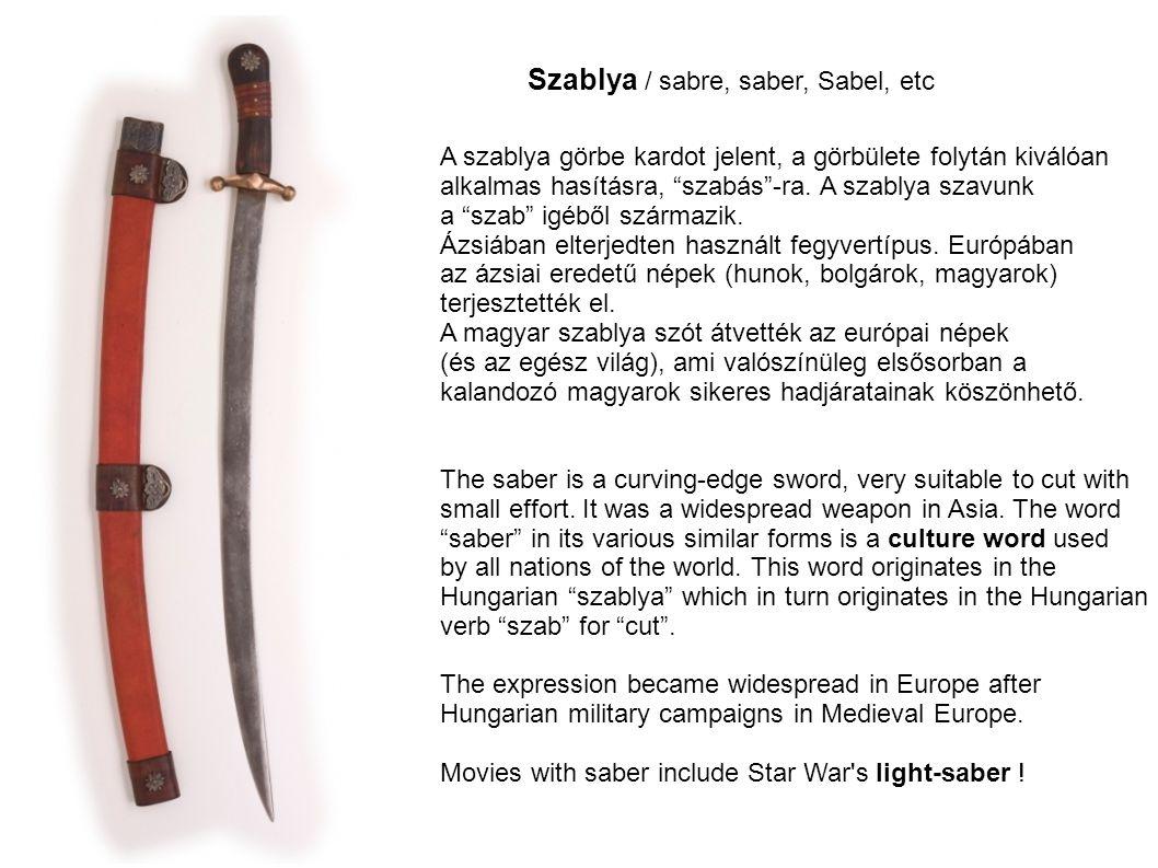 Szablya / sabre, saber, Sabel, etc