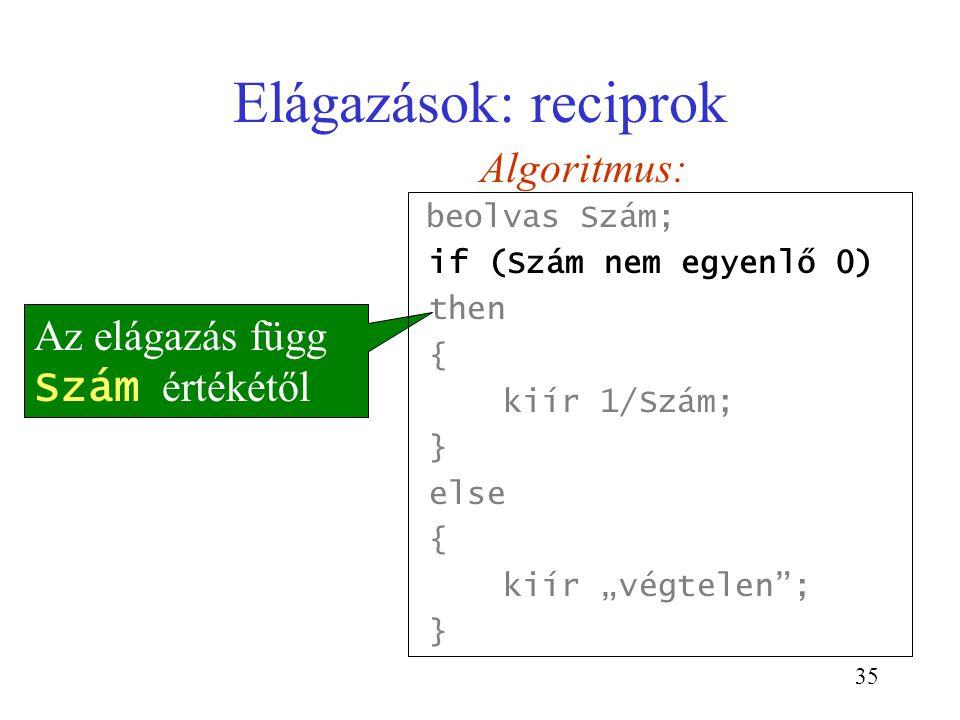 Elágazások: reciprok Algoritmus: Az elágazás függ Szám értékétől