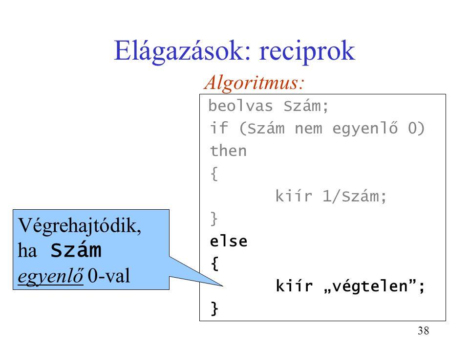 Elágazások: reciprok Algoritmus: Végrehajtódik, ha Szám egyenlő 0-val