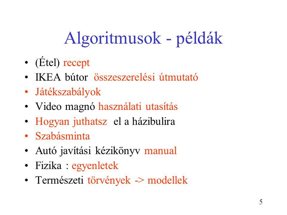 Algoritmusok - példák (Étel) recept IKEA bútor összeszerelési útmutató