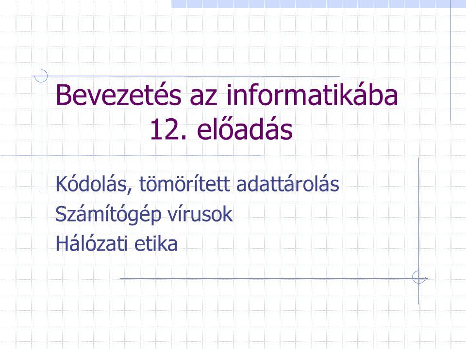 Bevezetés az informatikába 12. előadás