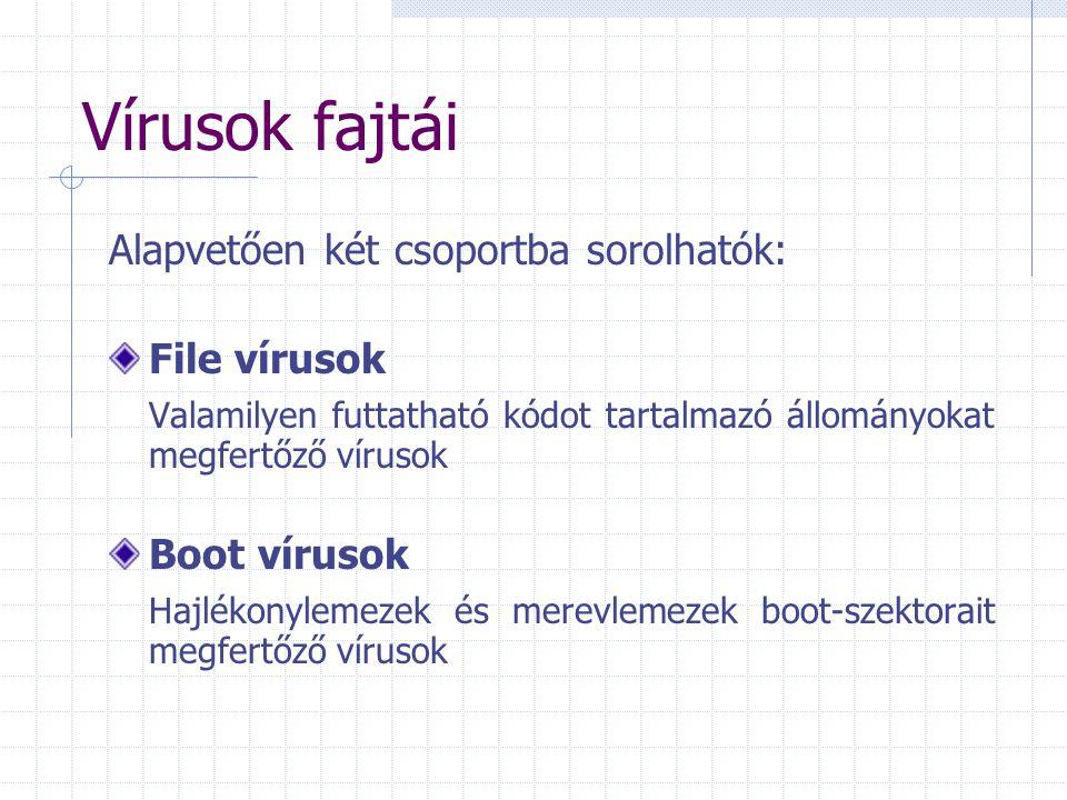 Vírusok fajtái Alapvetően két csoportba sorolhatók: File vírusok