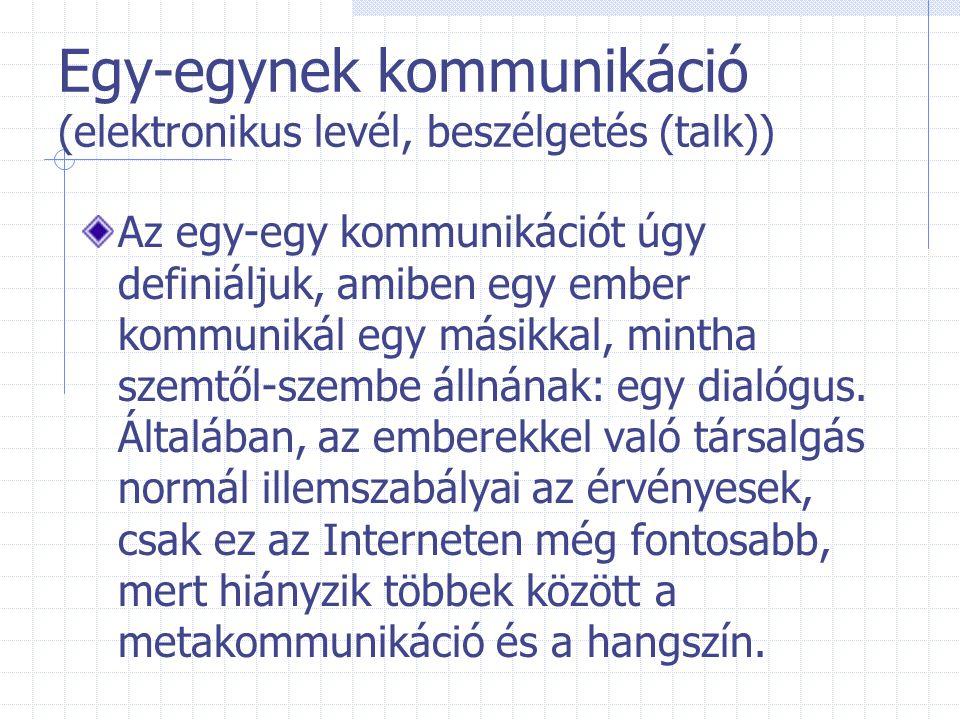 Egy-egynek kommunikáció (elektronikus levél, beszélgetés (talk))