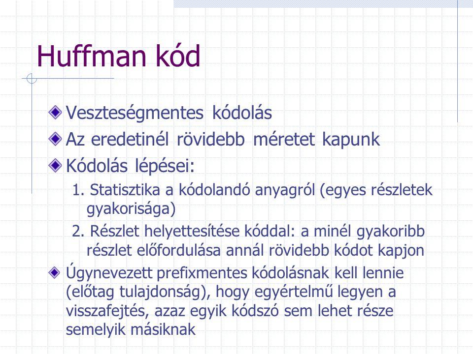 Huffman kód Veszteségmentes kódolás