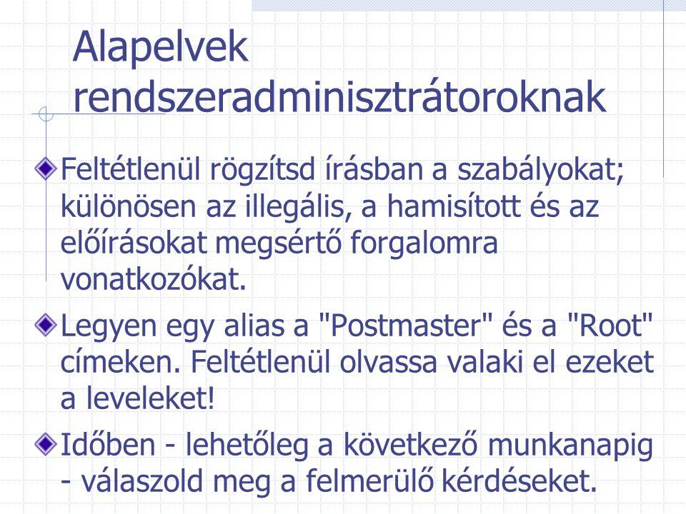 Alapelvek rendszeradminisztrátoroknak