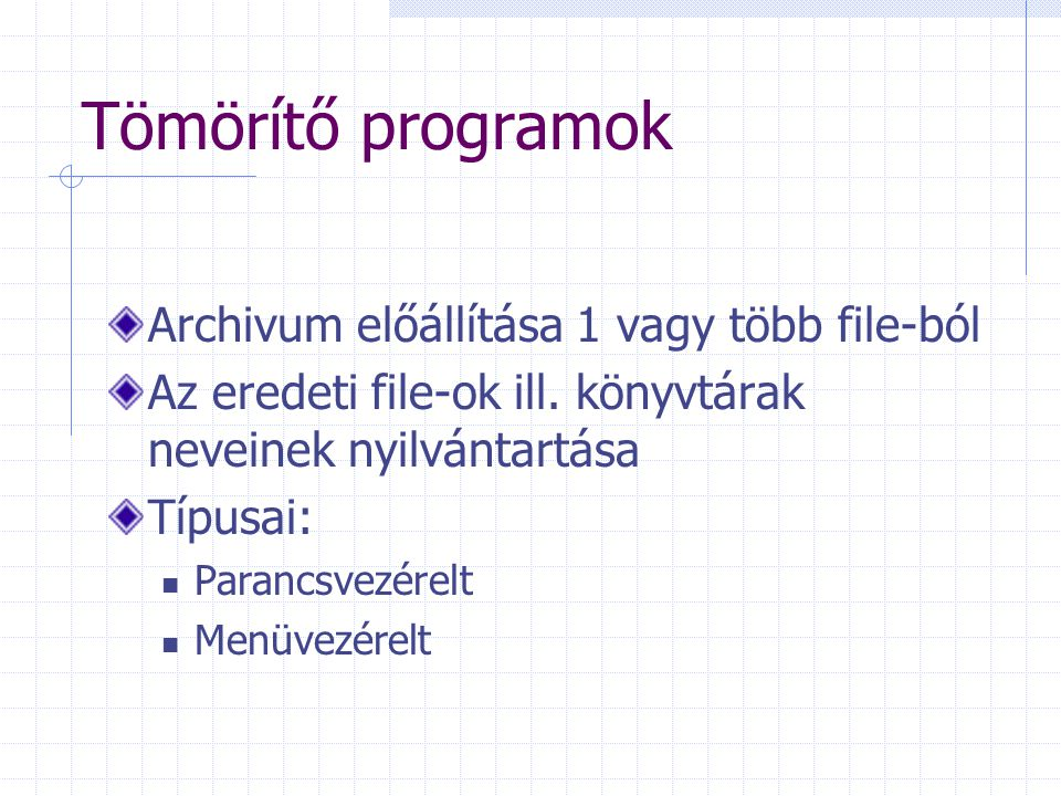 Tömörítő programok Archivum előállítása 1 vagy több file-ból