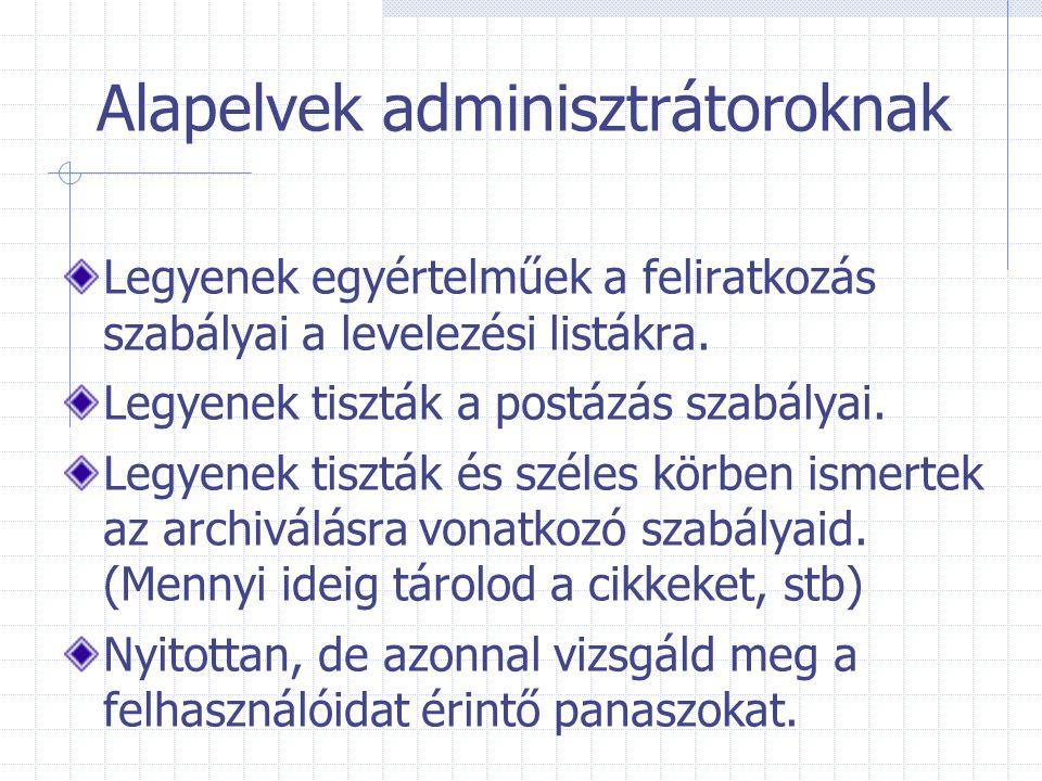 Alapelvek adminisztrátoroknak