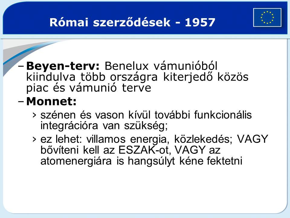 Római szerződések - 1957 Beyen-terv: Benelux vámunióból kiindulva több országra kiterjedő közös piac és vámunió terve.