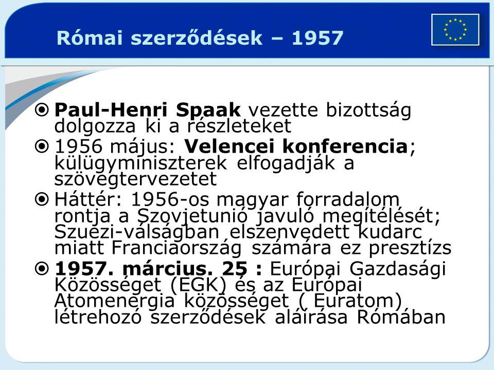 Római szerződések – 1957 Paul-Henri Spaak vezette bizottság dolgozza ki a részleteket.