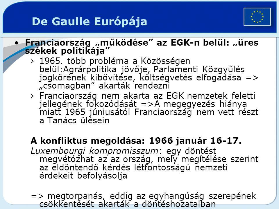 """De Gaulle Európája Franciaország """"működése az EGK-n belül: """"üres székek politikája"""