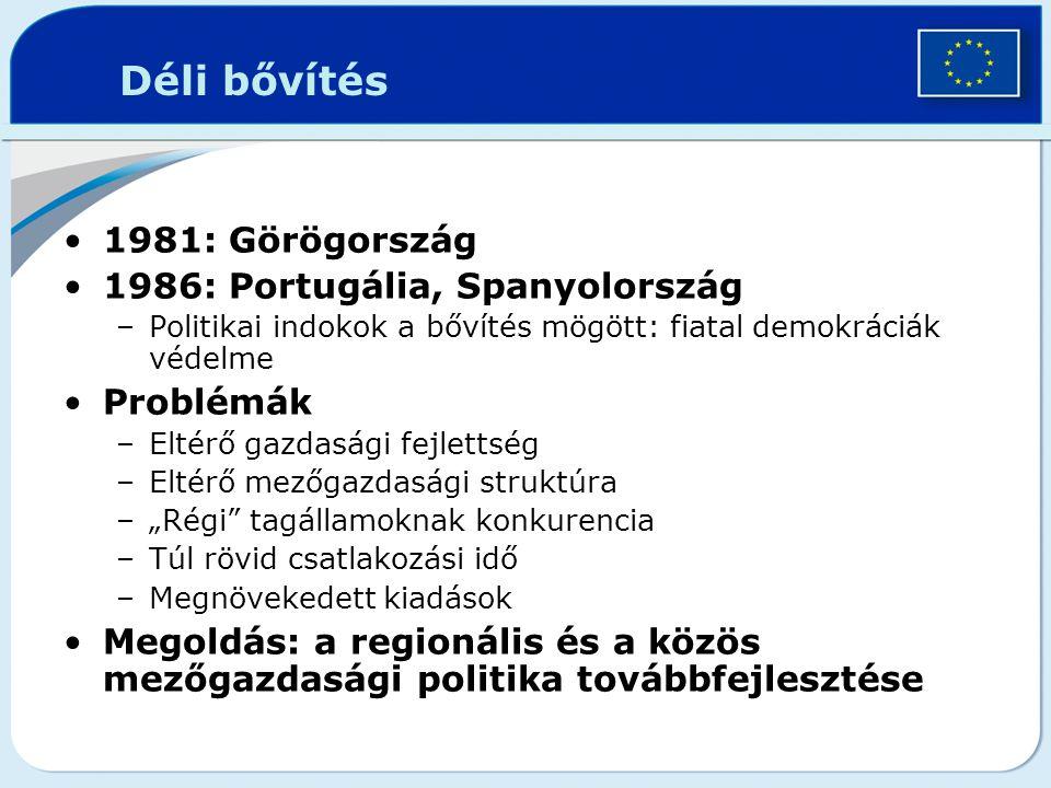 Déli bővítés 1981: Görögország 1986: Portugália, Spanyolország
