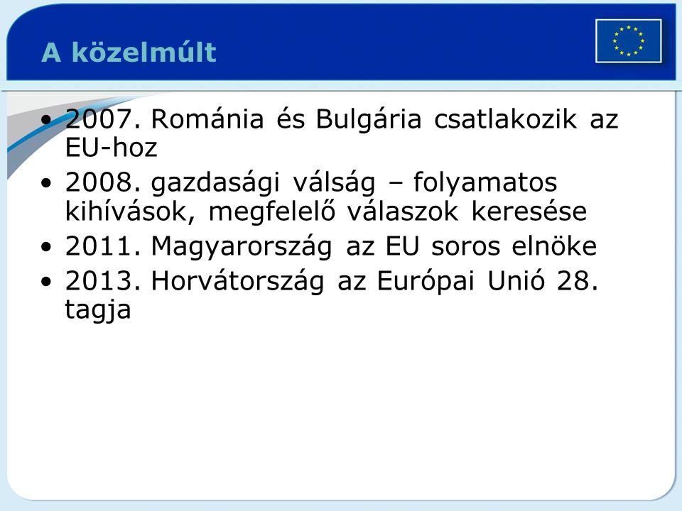 A közelmúlt 2007. Románia és Bulgária csatlakozik az EU-hoz. 2008. gazdasági válság – folyamatos kihívások, megfelelő válaszok keresése.