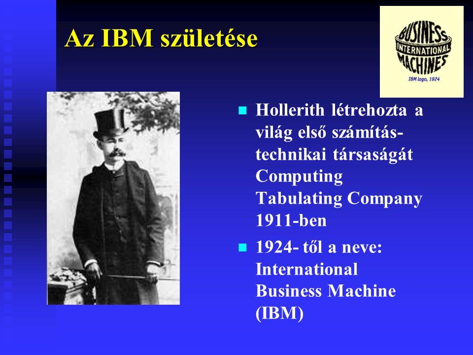 Az IBM születése Hollerith létrehozta a világ első számítás-technikai társaságát Computing Tabulating Company 1911-ben.
