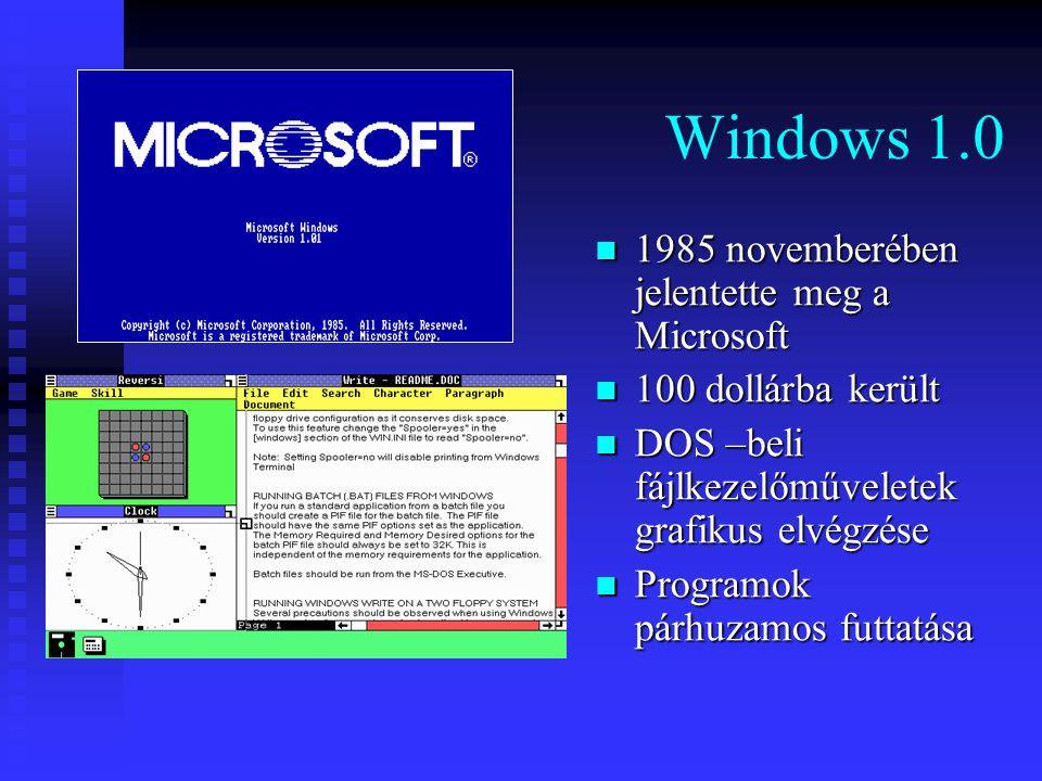 Windows 1.0 1985 novemberében jelentette meg a Microsoft