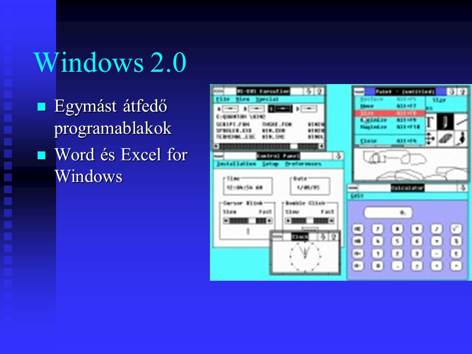 Windows 2.0 Egymást átfedő programablakok Word és Excel for Windows