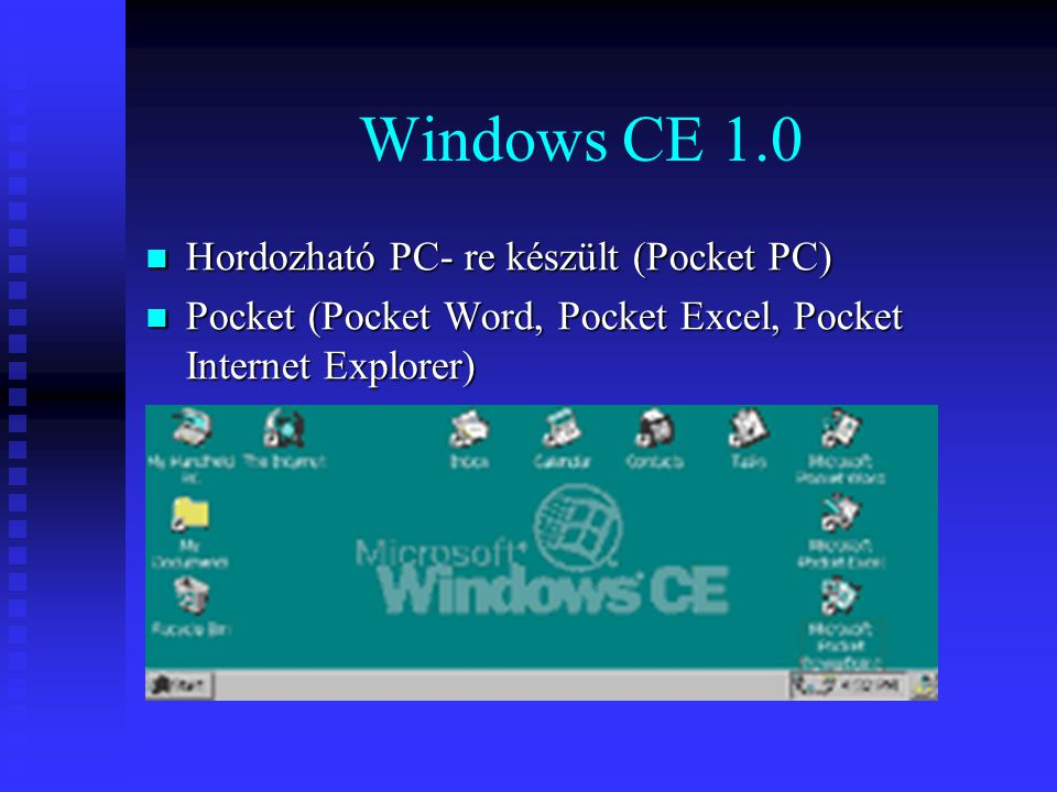 Windows CE 1.0 Hordozható PC- re készült (Pocket PC)