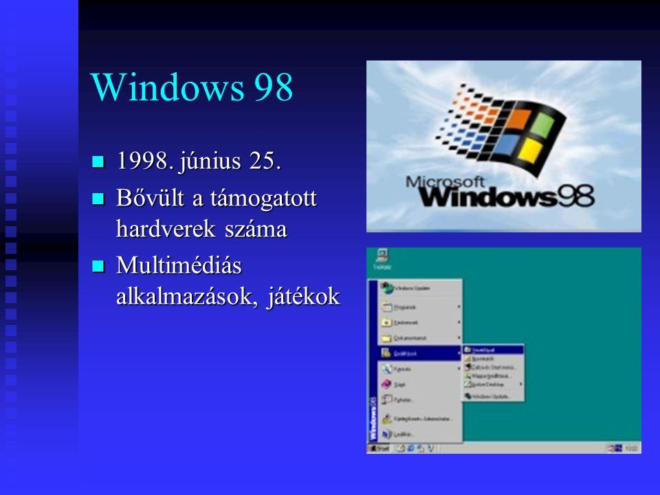 Windows 98 1998. június 25. Bővült a támogatott hardverek száma