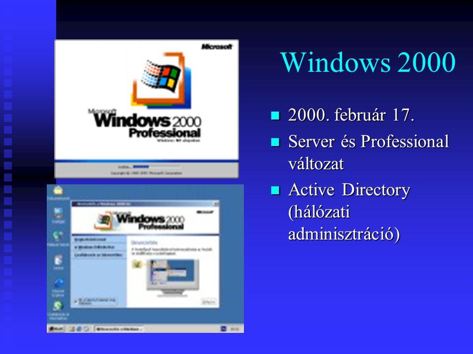 Windows 2000 2000. február 17. Server és Professional változat