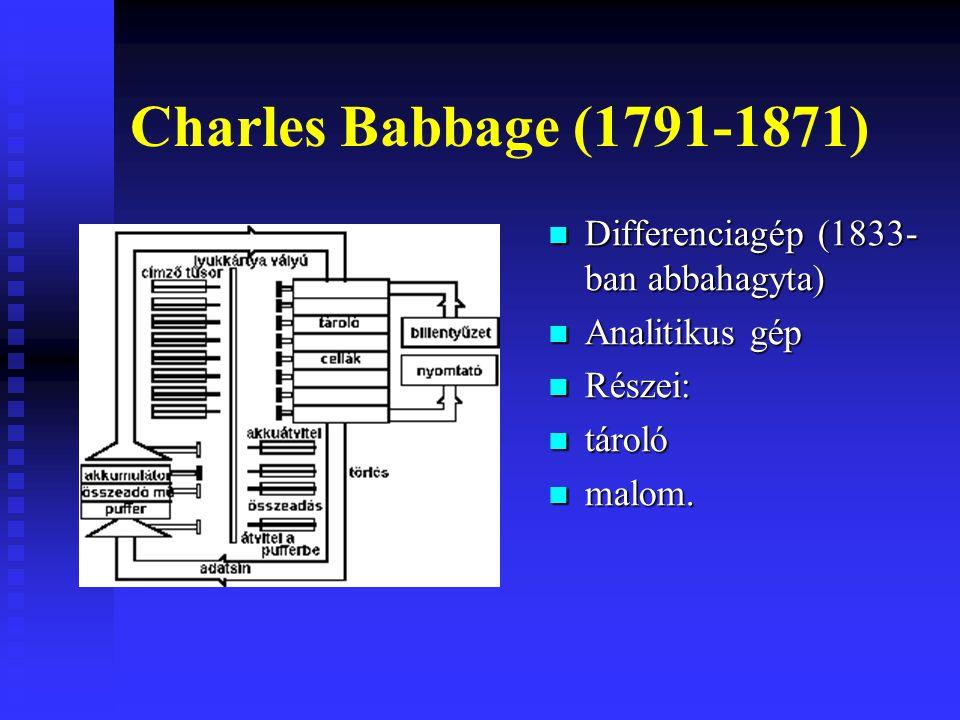 Charles Babbage (1791-1871) Differenciagép (1833-ban abbahagyta)