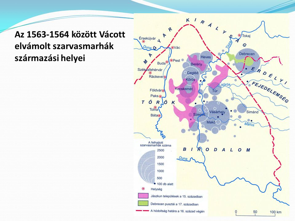 Az 1563-1564 között Vácott elvámolt szarvasmarhák származási helyei