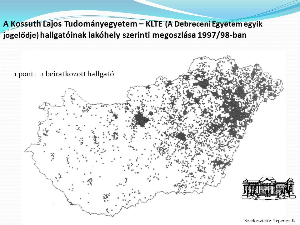 A Kossuth Lajos Tudományegyetem – KLTE (A Debreceni Egyetem egyik jogelődje) hallgatóinak lakóhely szerinti megoszlása 1997/98-ban