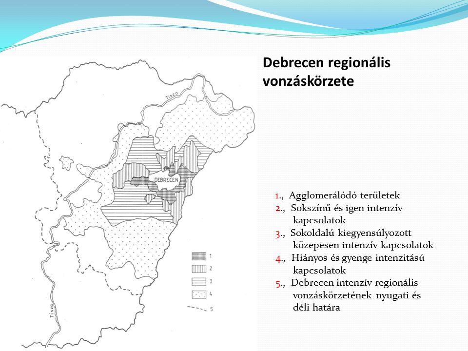 Debrecen regionális vonzáskörzete 1., Agglomerálódó területek
