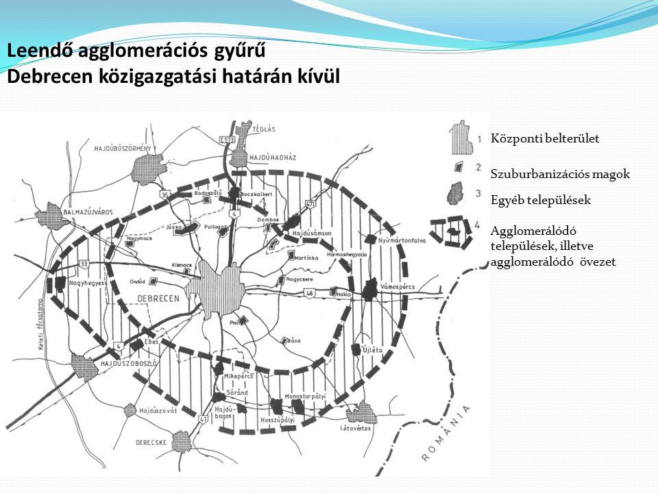 Leendő agglomerációs gyűrű Debrecen közigazgatási határán kívül