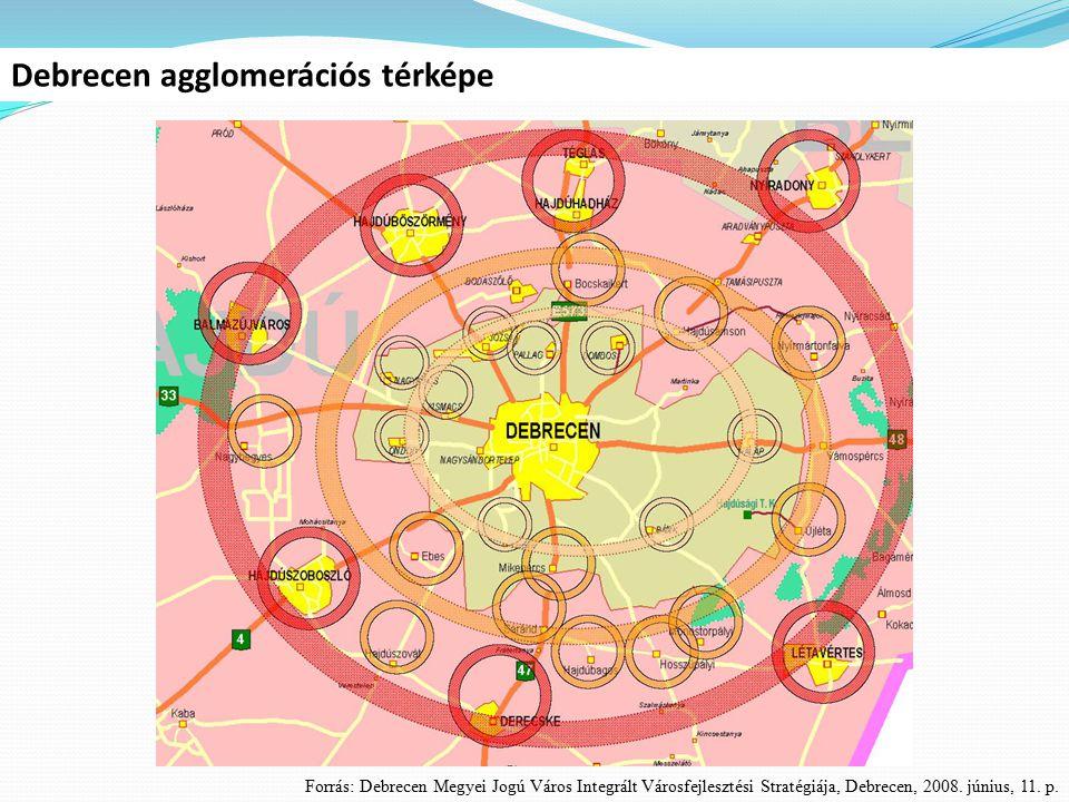 Debrecen agglomerációs térképe