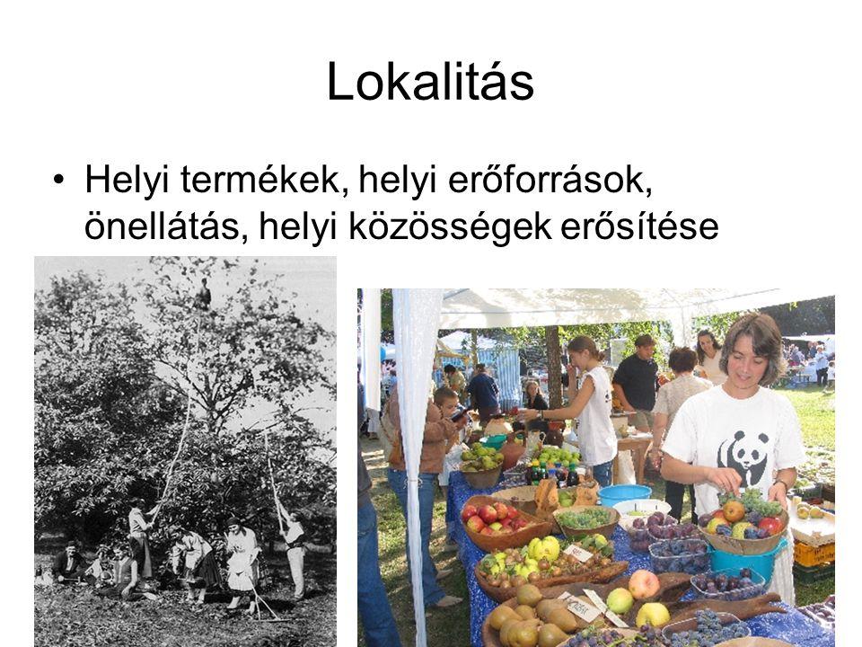 Lokalitás Helyi termékek, helyi erőforrások, önellátás, helyi közösségek erősítése