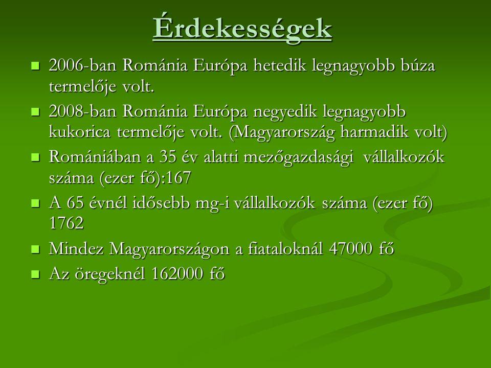 Érdekességek 2006-ban Románia Európa hetedik legnagyobb búza termelője volt.
